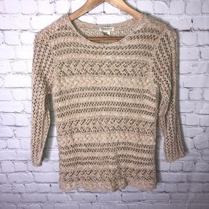 Lucky Brand Crochet Knit Sweater Top